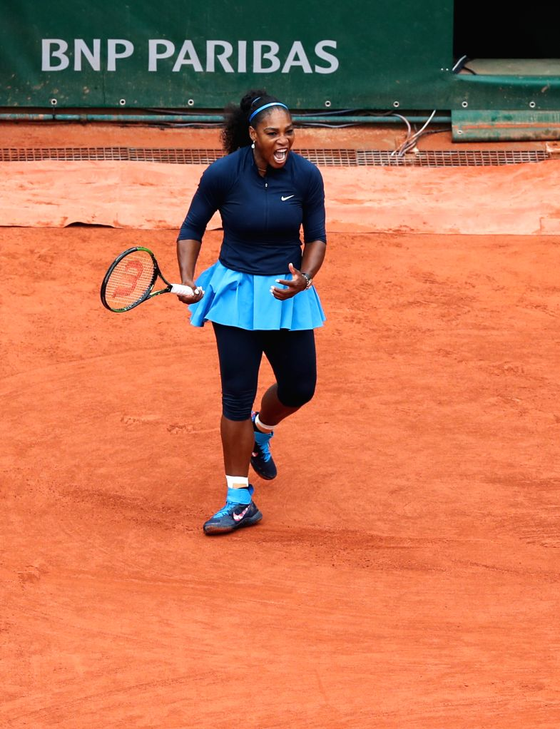PARIS, June 1, 2016 - Serena Williams of the United States reacts during the women's singles fourth round match with Elina Svitolina of Ukraine on day 11 of 2016 French Open tennis tournament at ...