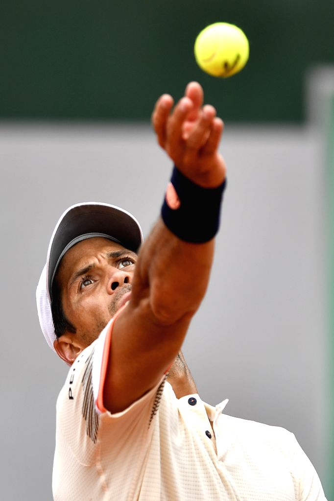 PARIS, June 1, 2018 - Fernando Verdasco of Spain serves during the men's singles third round match against Grigor Dimitrov of Bulgaria at the French Open Tennis Tournament 2018 in Paris, France on ...