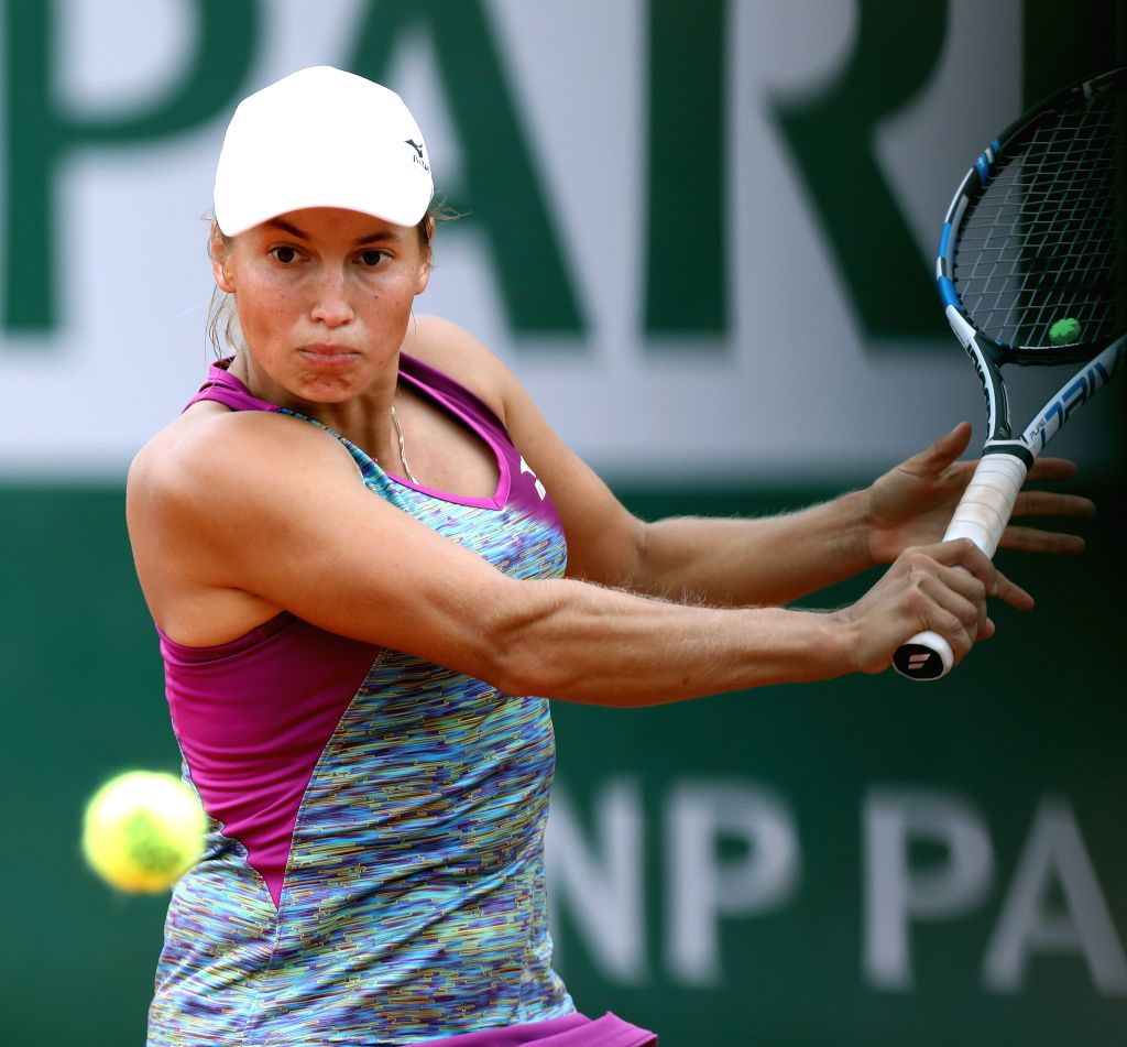 PARIS, June 1, 2018 - Julija Putinzewa of Kazakhstan returns a shot during the women's singles third round match against Wang Qiang of China at the French Open Tennis Tournament 2018 in Paris, France ...