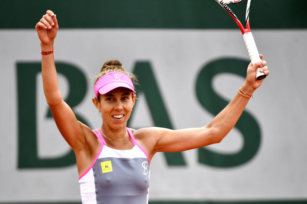 PARIS, June 1, 2018 - Mihaela Buzarnescu of Romania celebrates after the women's singles third round match against Elina Svitolina of Ukraine at the French Open Tennis Tournament 2018 in Paris, ...