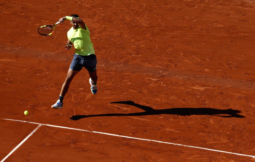 PARIS, June 1, 2019 - Rafael Nadal of Spain hits a return during the men's singles third round match with David Goffin of Belgium at French Open tennis tournament 2019 at Roland Garros, in Paris, ...
