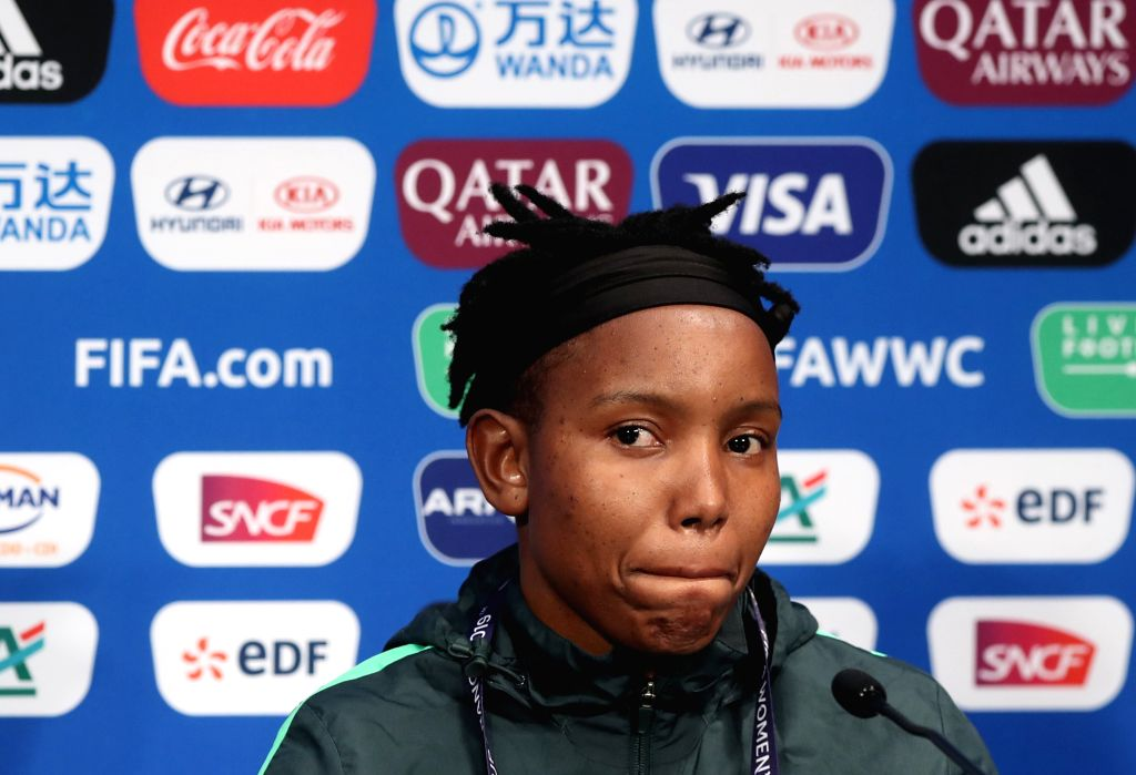 PARIS, June 13, 2019 - Goalkeeper Andile Dlamini of South Africa attends the official press conference one day ahead of the group B match between South Africa and China at the 2019 FIFA Women's World ...