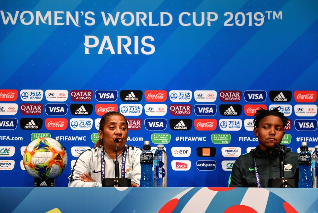 PARIS, June 13, 2019 - Head coach Desiree Ellis (L) and goalkeeper Andile Dlamini of South Africa attend the official press conference one day ahead of the group B match between South Africa and ...