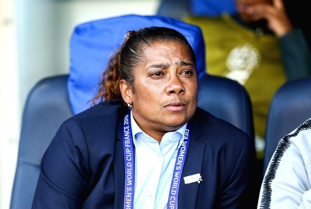 PARIS, June 14, 2019 - Head coach Desiree Ellis of South Africa reacts before the Group B match between China and South Africa at the 2019 FIFA Women's World Cup in Parc des Princes in Paris, France, ...