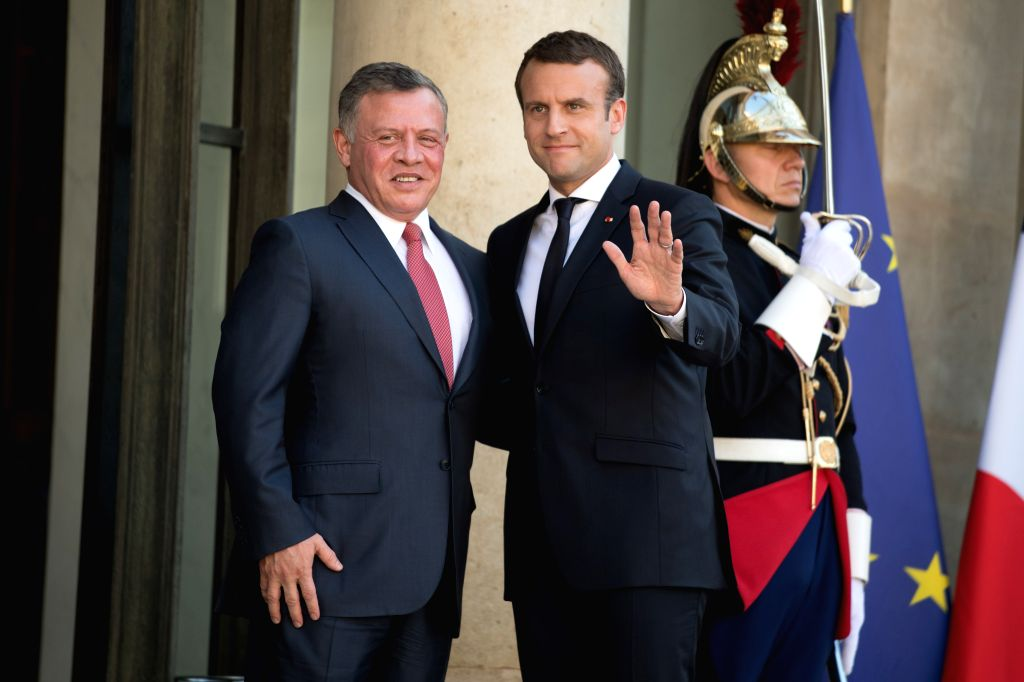 PARIS, June 19, 2017 - French President Emmanuel Macron (R) and Jordanian King Abdullah II pose for photos before their meeting at the Elysee Palace in Paris, France on June 19, 2017.