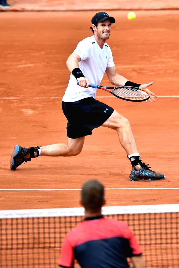 PARIS, June 2, 2017 - Andy Murray of Britain returns the ball to Martin Klizan of Slovakia during the men's singles 2nd round match at the French Open Tennis Tournament 2017 in Paris, France on June ...