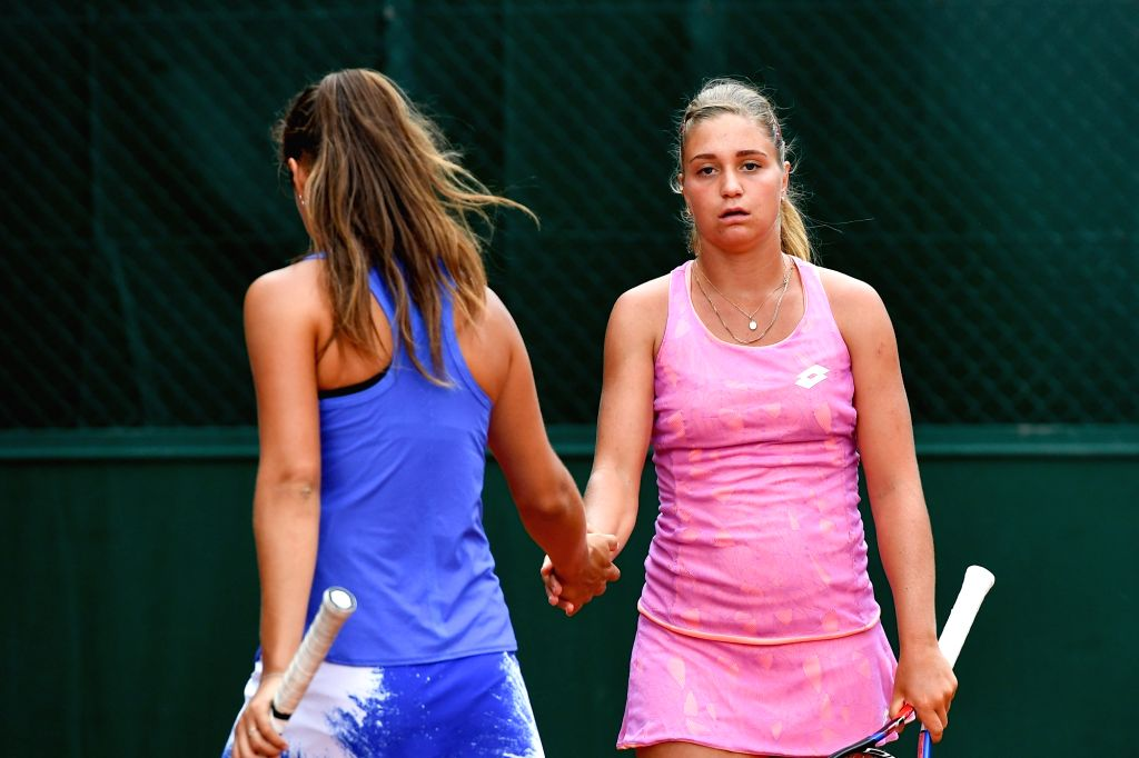 PARIS, June 2, 2017 - Daria Kasatkina(L)/Irina Khromacheva of Russia cheer each other during the women's doubles 2nd round match against Duan Yingying/Peng Shuai of China at the French Open Tennis ...