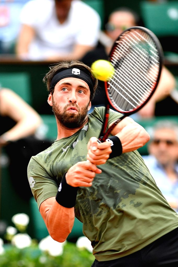 PARIS, June 2, 2017 - Nikoloz Basilashvili of Georgia returns the ball to Rafael Nadal of Spain during the men's singles 3rd round match at the French Open Tennis Tournament 2017 in Paris, France on ...