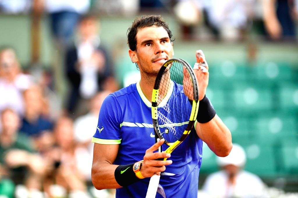 PARIS, June 2, 2017 - Rafael Nadal of Spain celebrates after the men's singles 3rd round match against Nikoloz Basilashvili of Georgia at the French Open Tennis Tournament 2017 in Paris, France on ...