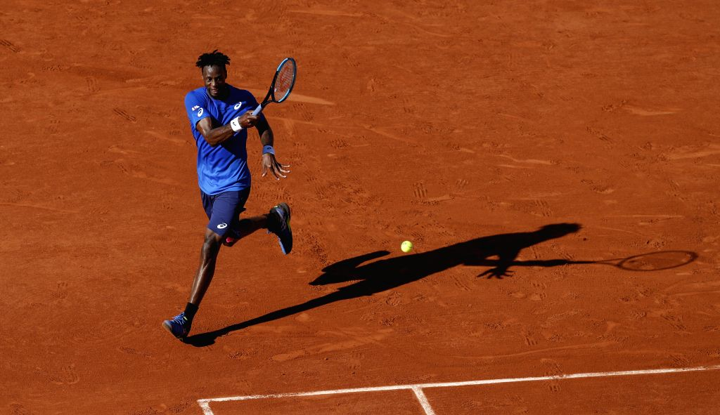 PARIS, June 2, 2019 - Gael Monfils of France hits a return during the men's singles third round match with Antoine Hoang of France at French Open tennis tournament 2019 at Roland Garros, in Paris, ...