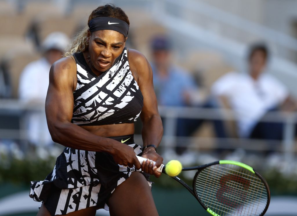 PARIS, June 2, 2019 - Serena Williams of the United States hits a return during the women's singles third round match with Sofia Kenin of the United States at French Open tennis tournament 2019 at ...