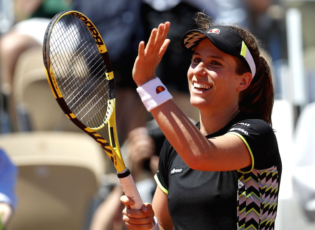 PARIS June 2, 2019 (Xinhua) -- Johanna Konta of Britain celebrates after the women's singles fourth round match against Donna Vekic of Croatia at French Open tennis tournament 2019 at Roland Garros, in Paris, France on Jun. 2, 2019. Johanna Konta won