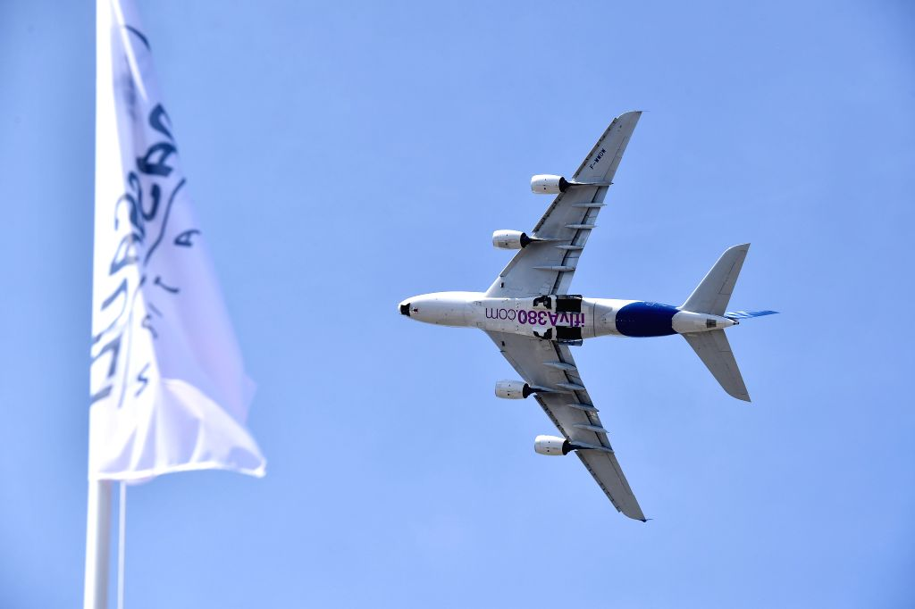 PARIS, June 20, 2017 - An Airbus A380 plane performs during a flight display at the 52nd International Paris Air and Space Show held in Le Bourget near Paris, France, on June 19, 2017. The 52nd ...