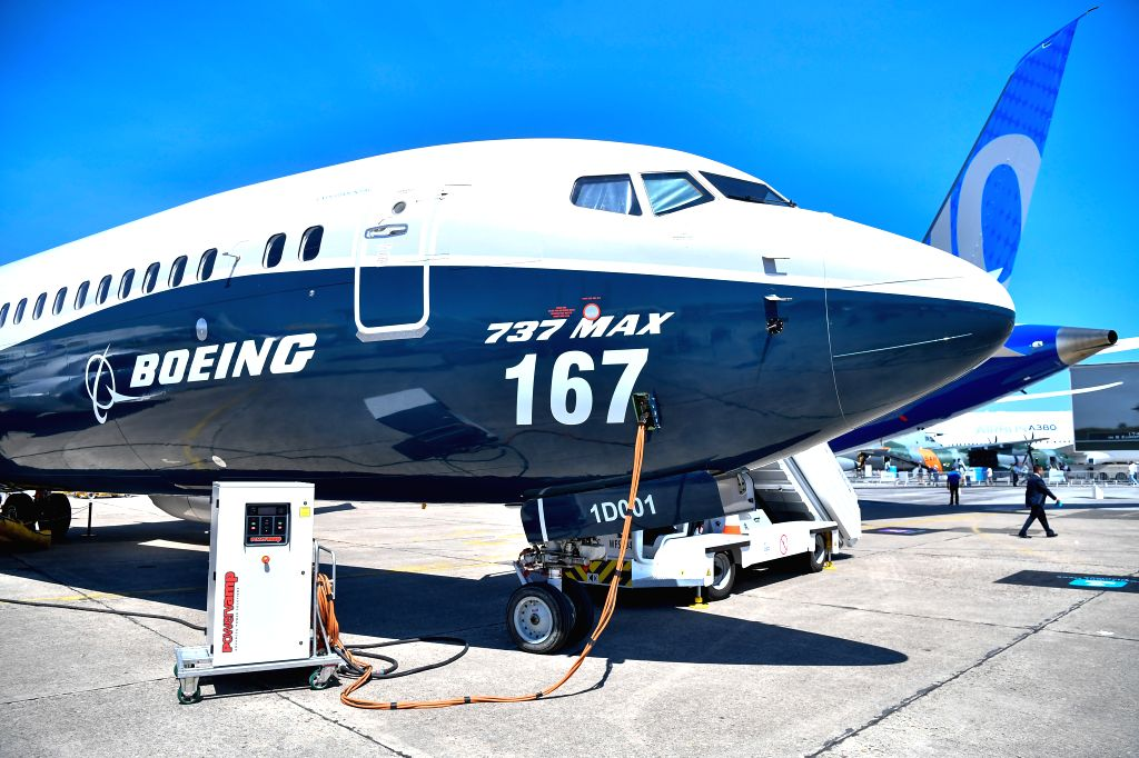 PARIS, June 20, 2017 - Photo taken on June 19, 2017 shows a Boeing 737 MAX 9 in Bourget, France. The 52nd International Paris Air and Space Show kicked off on Monday to showcase the cutting-edge ...