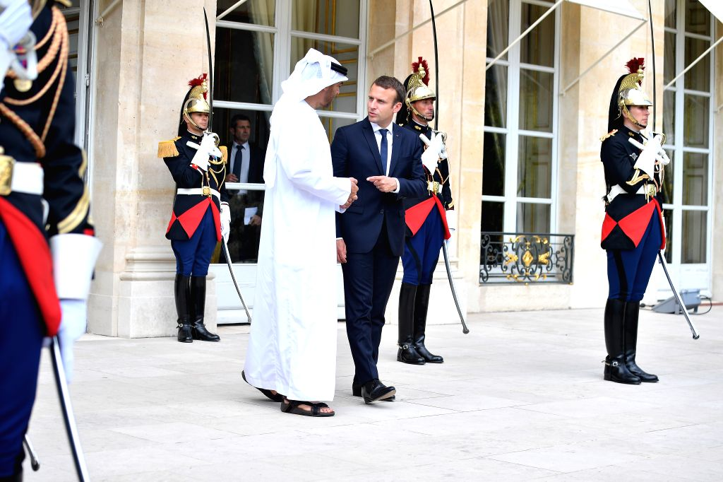 PARIS, June 22, 2017 - French President Emmanuel Macron (R) meets with Abu Dhabi Crown Prince Sheikh Mohammed bin Zayed Al-Nahyan at the Elysee Palace in Paris June 21, 2017.