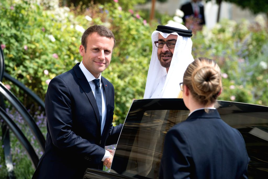 PARIS, June 22, 2017 - French President Emmanuel Macron (L) meets with Abu Dhabi Crown Prince Sheikh Mohammed bin Zayed Al-Nahyan at the Elysee Palace in Paris June 21, 2017.
