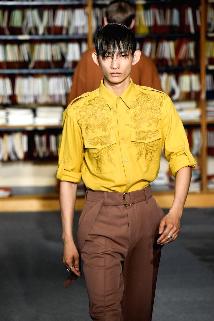 PARIS, June 23, 2017 - A model presents the design of Dries Van Noten during Paris Men's Fashion Week Spring/Summer 2018 in Paris, France on June 22, 2017.