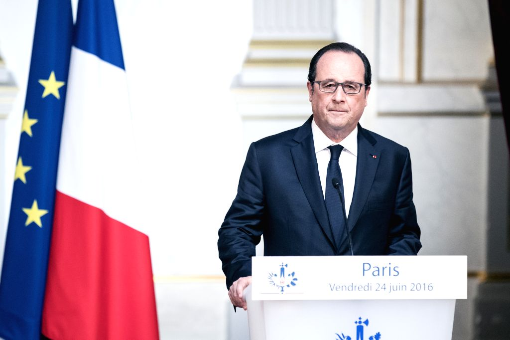 """PARIS, June 24, 2016 - French President Francois Hollande speaks at a press conference in Paris, France, June 24, 2016. French President Francois Hollande on Friday said he """"respects"""" the ..."""