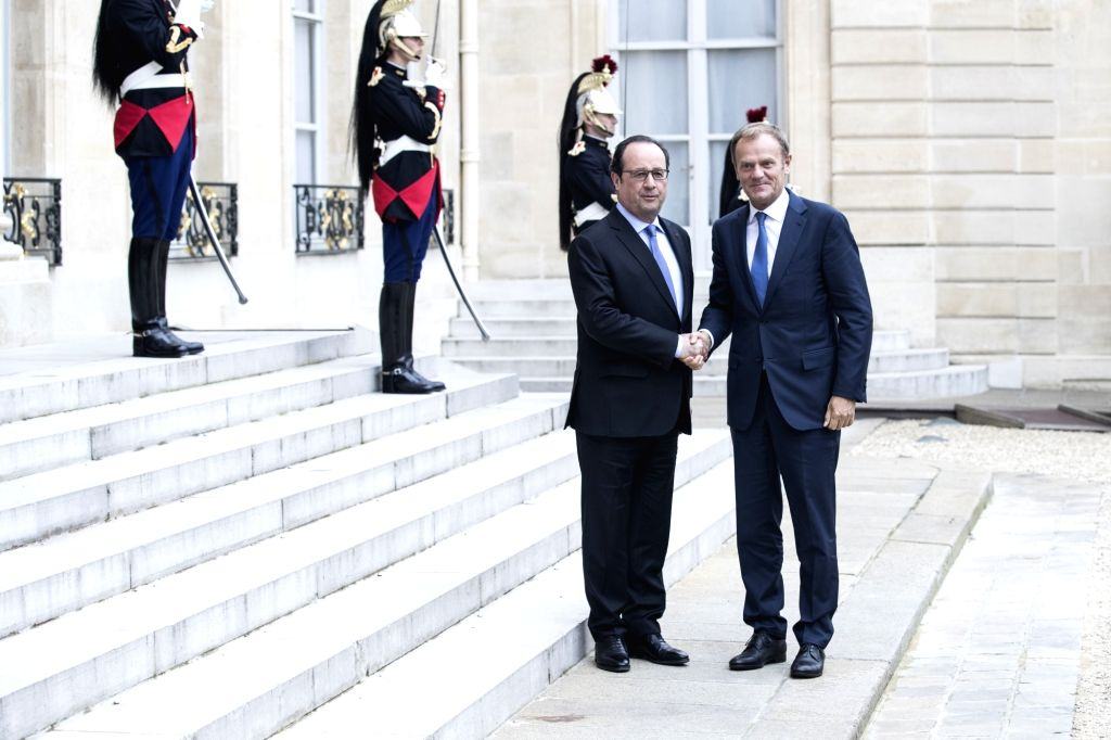 PARIS, June 28, 2016 - French President Francois Hollande (L) meets with European Council President Donald Tusk at the Elysee Presidential Palace in Paris, France, on June 27, 2016.