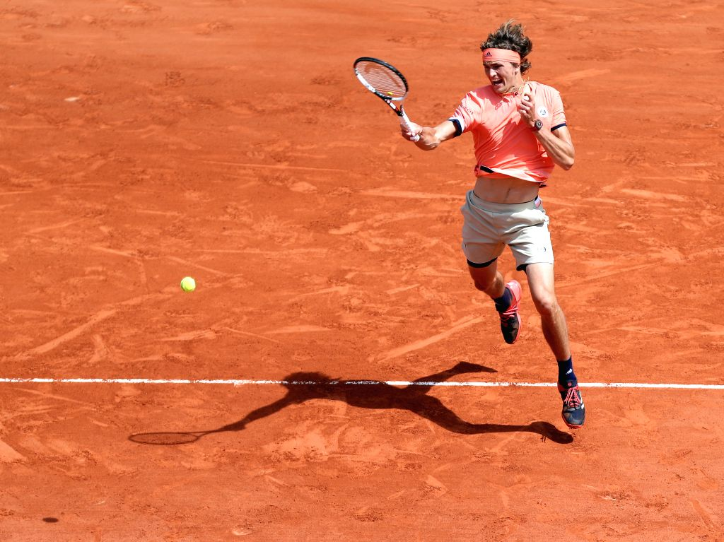 PARIS, June 3, 2018 - Alexander Zverev of Germany returns a shot during the men's singles fourth round match against Karen Khachanov of Russia at the French Open Tennis Tournament 2018 in Paris, ...