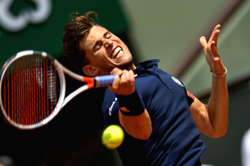 PARIS, June 3, 2018 - Dominic Thiem of Austria returns a shot during the men's singles fourth round match against Kei Nishikori of Japan at the French Open Tennis Tournament 2018 in Paris, France, on ...