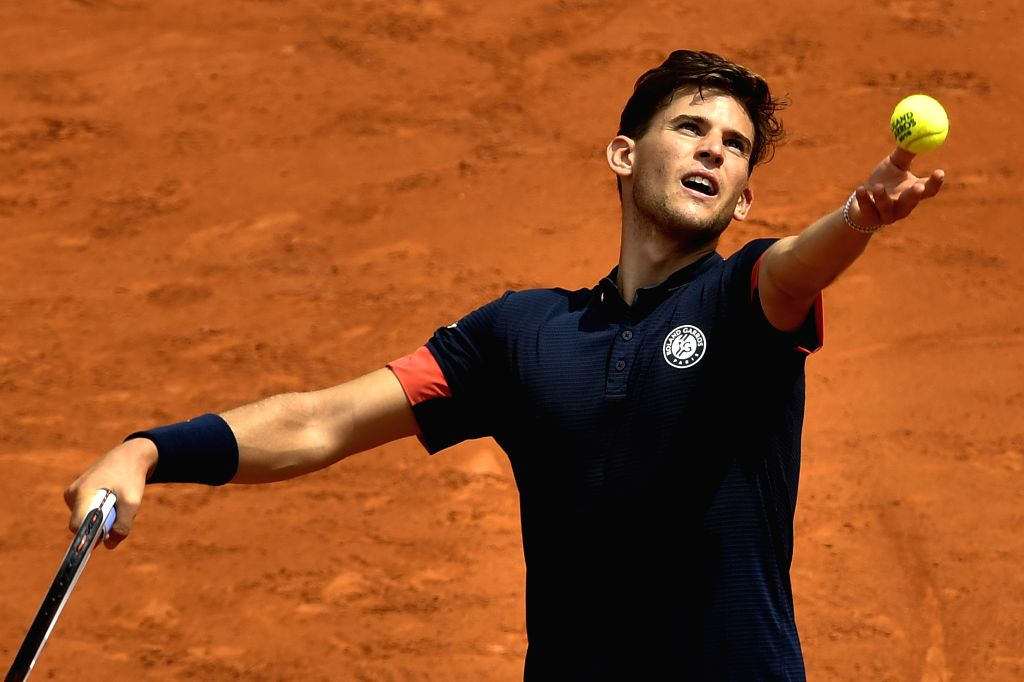 PARIS, June 3, 2018 - Dominic Thiem of Austria serves during the men's singles fourth round match against Kei Nishikori of Japan at the French Open Tennis Tournament 2018 in Paris, France, on June 3, ...