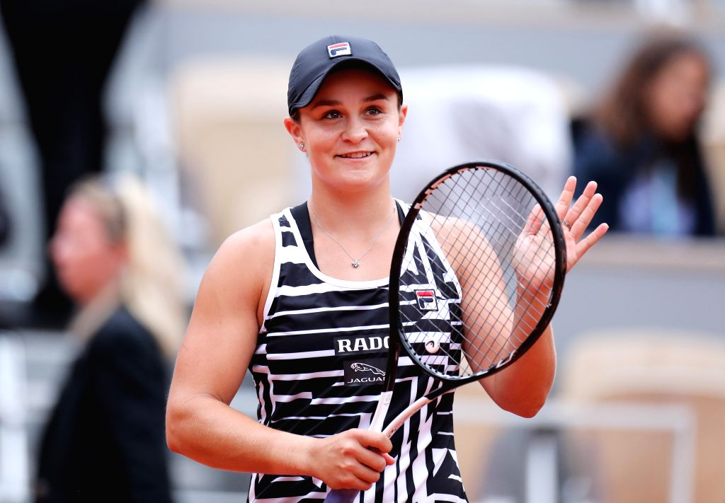 PARIS, June 3, 2019 - Ashleigh Barty of Australia celebrates after the women's singles fourth round match between Ashleigh Barty of Australia and Sofia Kenin of the United States at French Open ...