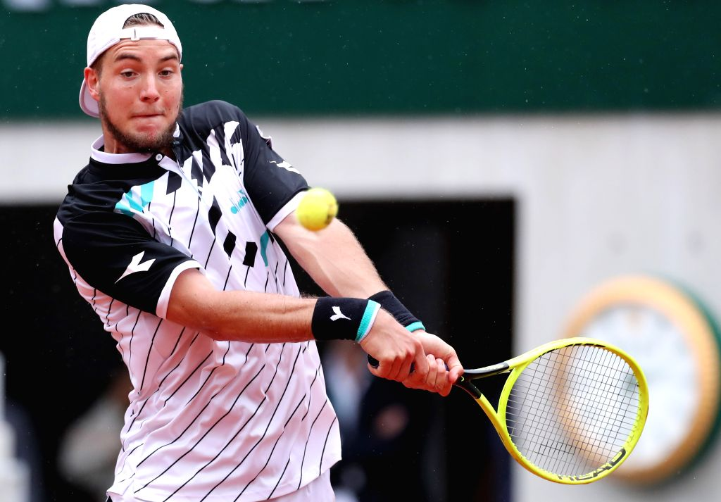 PARIS, June 3, 2019 - Jan-Lennard Struff of Germany competes during the men's singles fourth round match between Novak Djokovic of Serbia and Jan-Lennard Struff of Germany at French Open tennis ...