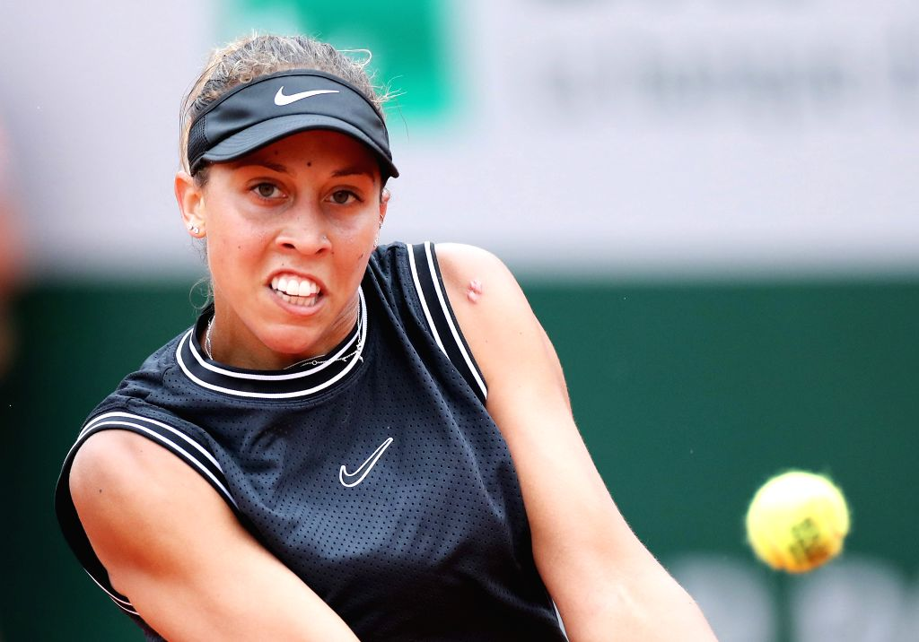 PARIS, June 3, 2019 - Madison Keys of the United States competes during the women's singles fourth round match between Madison Keys of the United States and Katerina Siniakova of the Czech Republic ...
