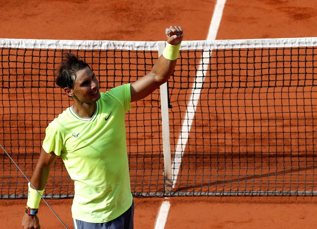 PARIS, June 3, 2019 - Rafael Nadal of Spain celebrates after the men's singles fourth round match with Juan Ignacio Londero of Argentina at French Open tennis tournament 2019 at Roland Garros in ...