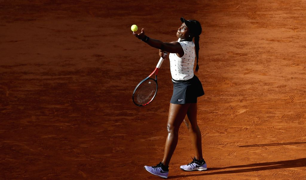 PARIS, June 3, 2019 - Sloane Stephens of the United States competes during the women's singles fourth round match with Garbine Muguruza of Spain at French Open tennis tournament 2019 at Roland Garros ...