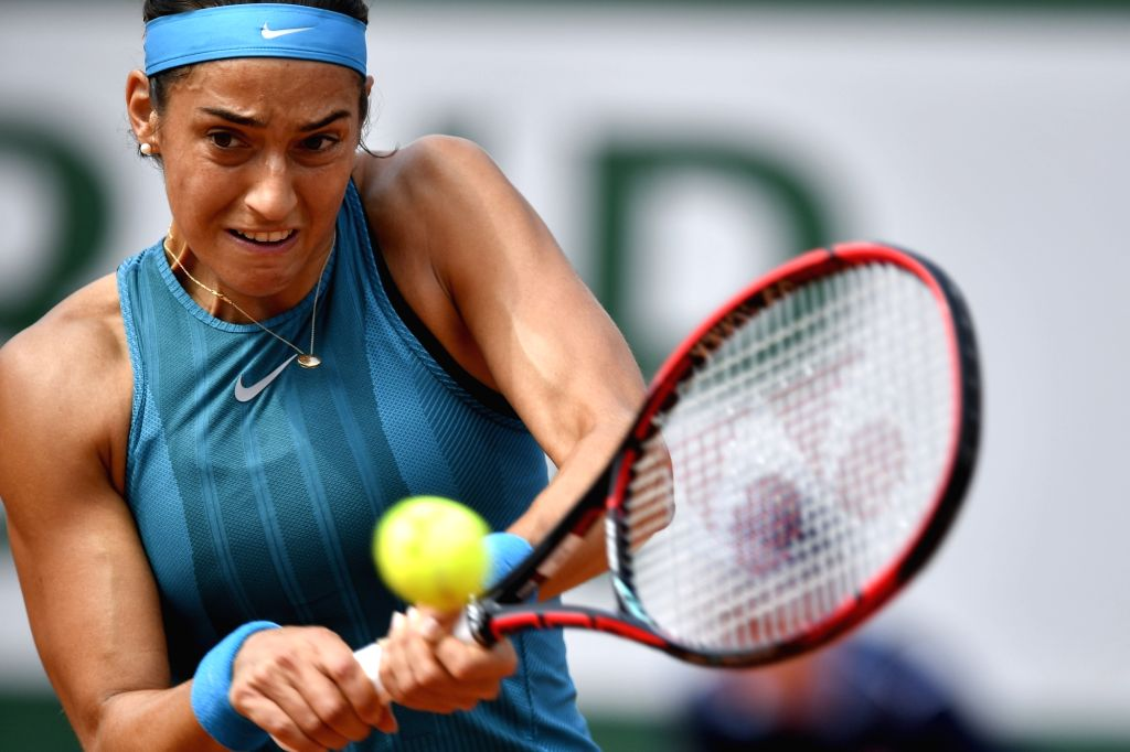 PARIS, June 4, 2018 - Caroline Garcia of France returns a shot during the women's singles 4th round match against Angelique Kerber of Germany at the French Open Tennis Tournament 2018 in Paris, ...