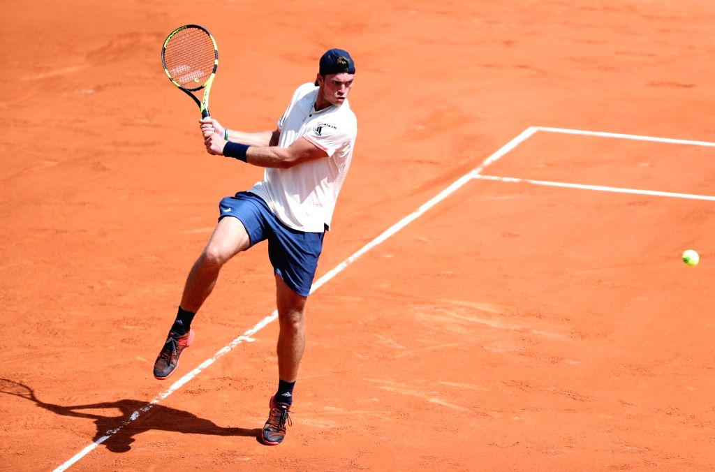 PARIS, June 4, 2018 - Maximilian Marterer of Germany returns a shot during the men's singles 4th round match against Rafael Nadal of Spain at the French Open Tennis Tournament 2018 in Paris, France, ...