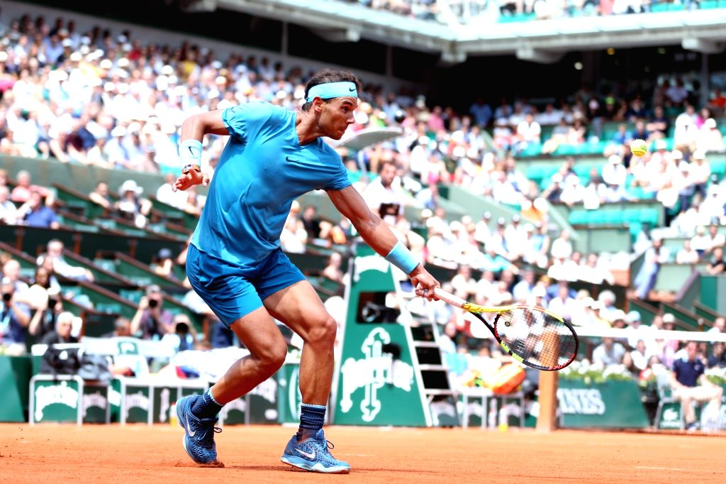 PARIS, June 4, 2018 - Rafael Nadal of Spain returns a shot during the men's singles 4th round match against Maximilian Marterer of Germany at the French Open Tennis Tournament 2018 in Paris, France, ...