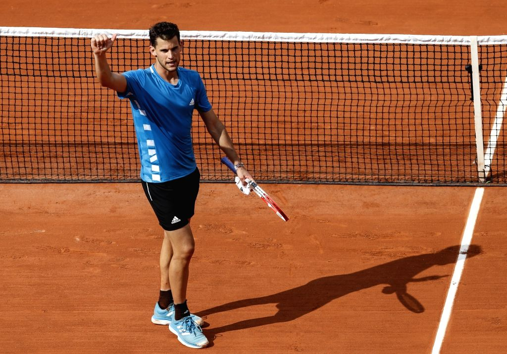 PARIS, June 4, 2019 - Dominic Thiem of Austria celebrates after the men's singles fourth round match with Gael Monfils of France at French Open tennis tournament 2019 at Roland Garros in Paris, ...