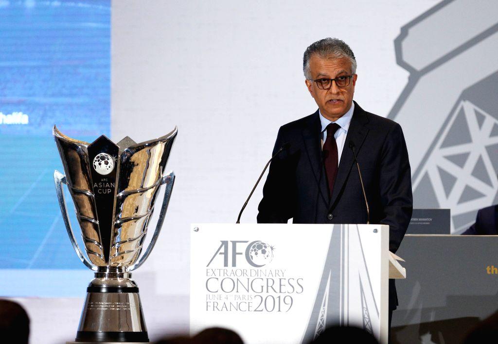 PARIS, June 4, 2019 (Xinhua) -- AFC President Shaikh Salman bin Ebrahim Al Khalifa makes an address during the AFC Extraordinary Congress in Paris, France, June 4, 2019. China was confirmed as the host of the AFC Asian Cup 2023./IANS)