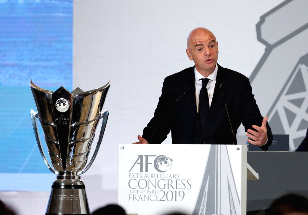 PARIS, June 4, 2019 (Xinhua) -- FIFA President Gianni Infantino makes an address during the AFC Extraordinary Congress in Paris, France, June 4, 2019. China was confirmed as the host of the AFC Asian Cup 2023/IANS)