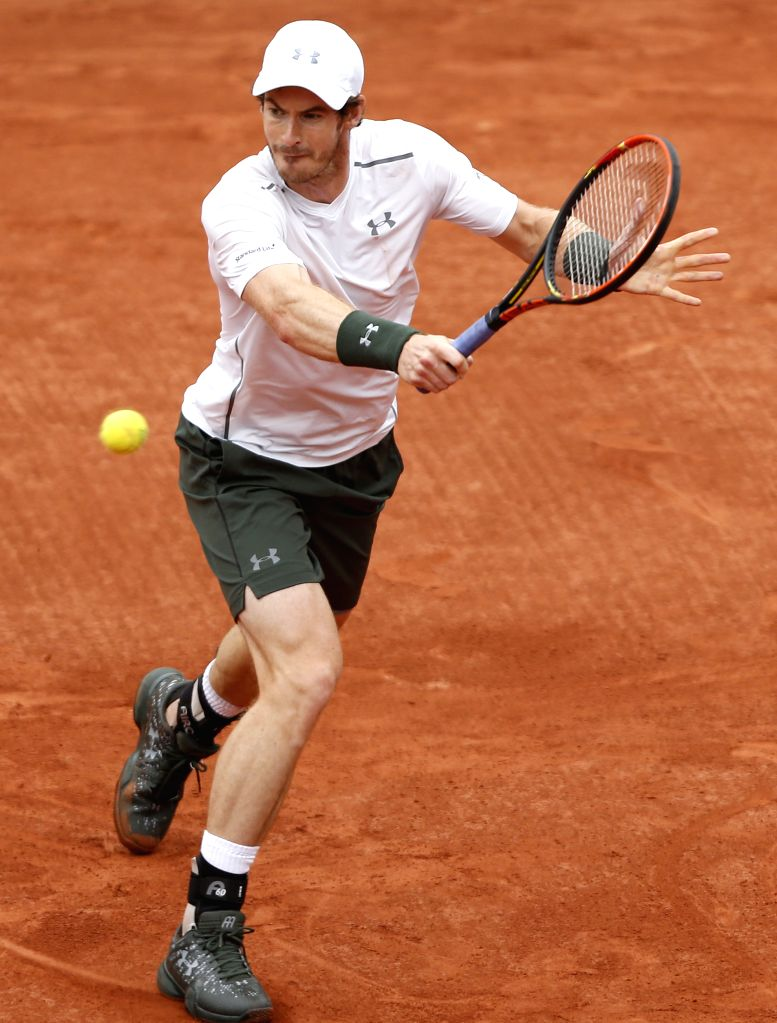 PARIS, June 5, 2016 - Andy Murray of Britain returns the ball to Novak Djokovic of Serbia during men's singles final match at the French Open tennis tournament in Paris, France, June 5, 2016.