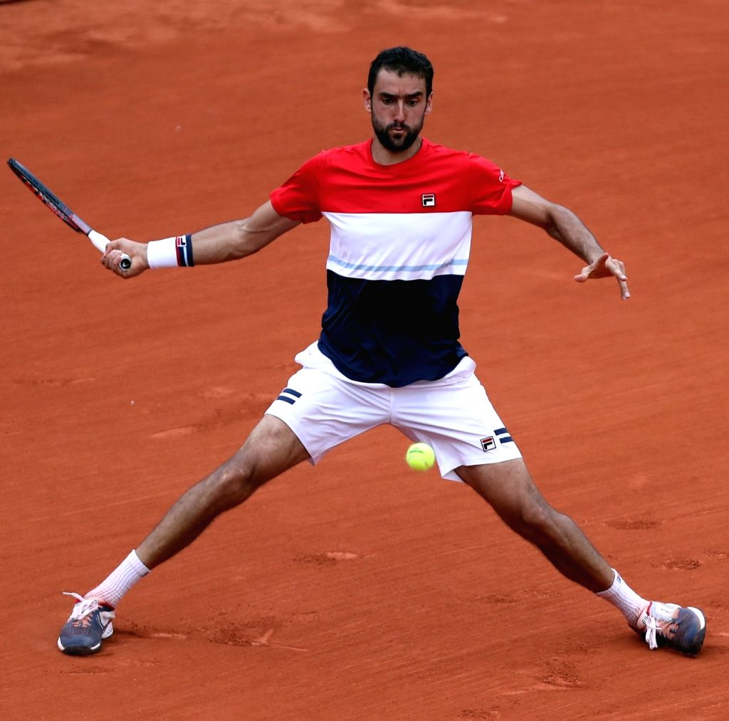 PARIS, June 5, 2018 - Third seeded Marin Cilic of Croatia returns the ball during the men's singles 4th round match against Fabio Fognini of Italy at the French Open Tennis Tournament 2018 in Paris, ...