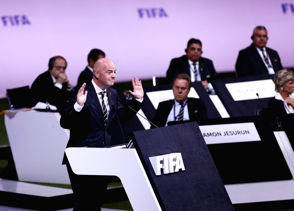 PARIS, June 5, 2019 - FIFA President Gianni Infantino delivers a speech during the 69th FIFA Congress in Paris, France on June 5, 2019.