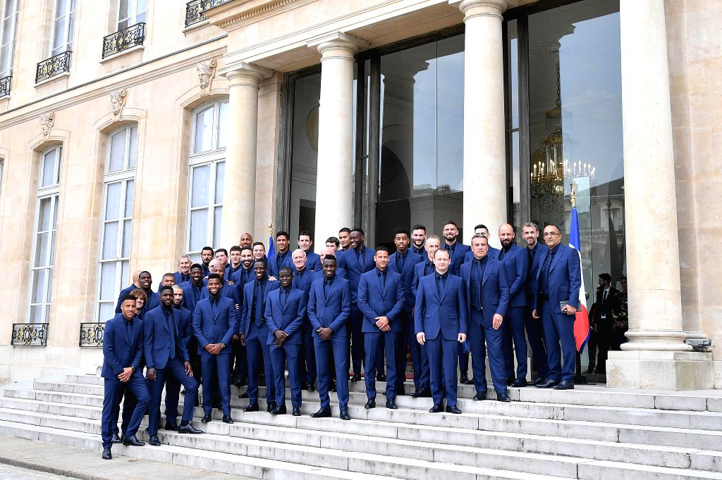 PARIS, June 5, 2019 - French soccer team, winners of the Russia 2018 World Cup, pose before a ceremony awarding them France's prestigious Legion of Honour at the Elysee Palace in Paris, France, June ...