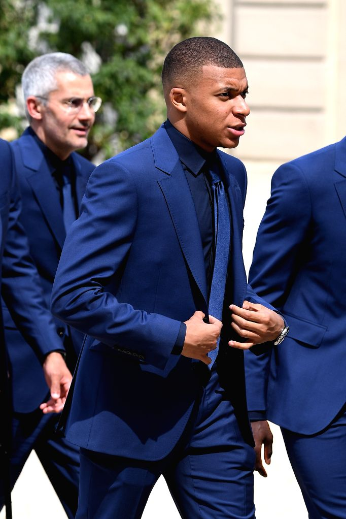 PARIS, June 5, 2019 - Kylian Mbappe and French soccer team, winners of the Russia 2018 World Cup, attend a ceremony awarding them France's prestigious Legion of Honour at the Elysee Palace in Paris, ...