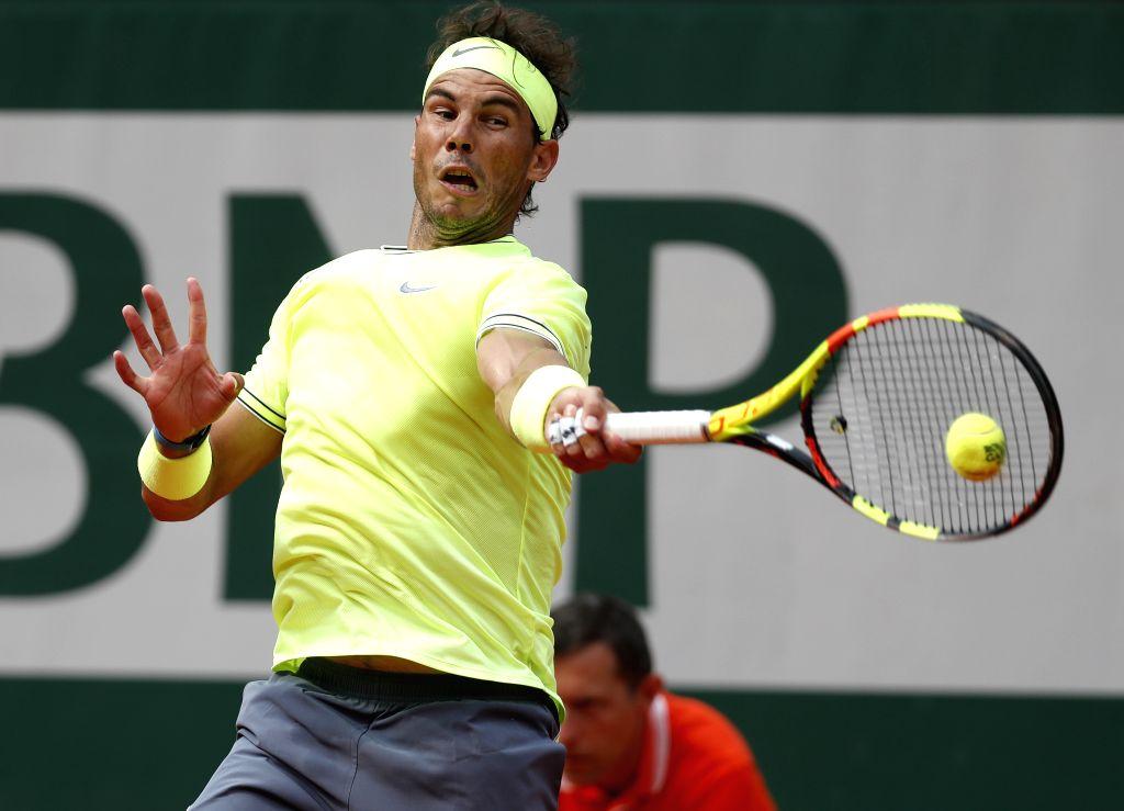 PARIS, June 5, 2019 - Rafael Nadal competes during the men's singles quarterfinal match between Rafael Nadal of Spain and Kei Nishikori of Japan at French Open tennis tournament 2019 at Roland ...
