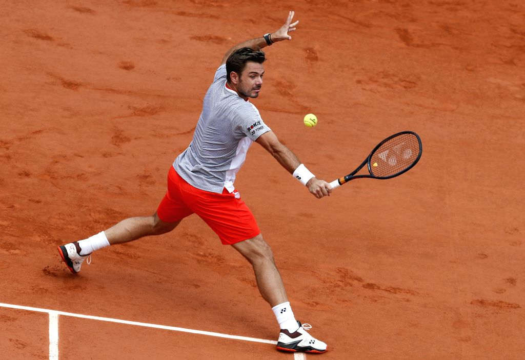 PARIS, June 5, 2019 - Stan Wawrinka of Switzerland competes during the men's singles quarterfinal match against his compatriot Roger Federer at French Open tennis tournament 2019 at Roland Garros, in ...
