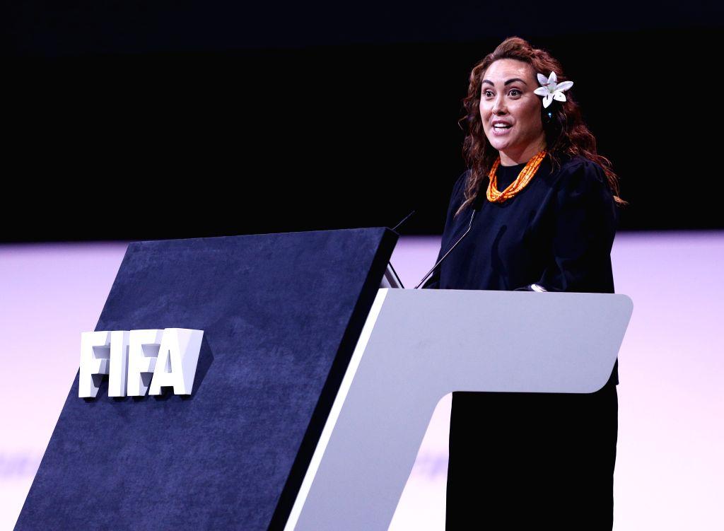 PARIS, June 6, 2019 - FIFA's Chief Women's Football Officer Sarai Bareman delivers a speech during the FIFA Women's Football Convention in Paris, France on June 6, 2019.