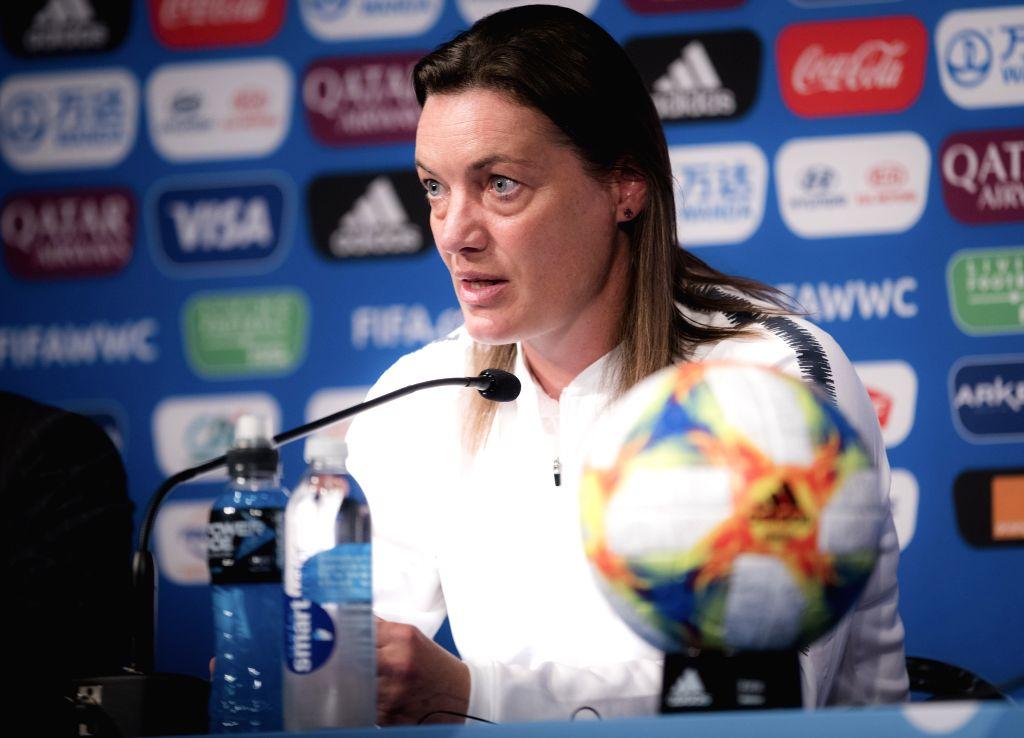 PARIS, June 6, 2019 - Head Coach Corinne Diacre (2nd L)  of France attends the press conference held at the Parc des Princes in Paris, France on June 6, 2019.