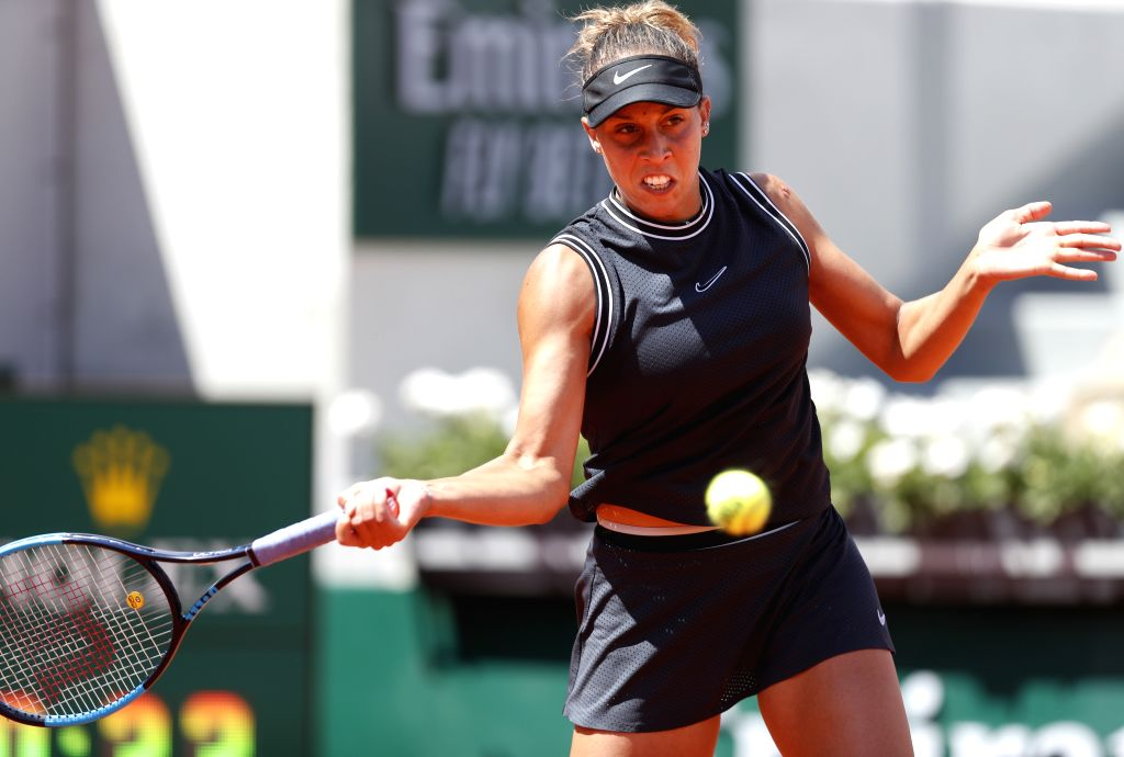 PARIS, June 6, 2019 - Madison Keys of the United States competes during the women's singles quarterfinal match with Ashleigh Barty of Australia at French Open tennis tournament 2019 at Roland Garros, ...