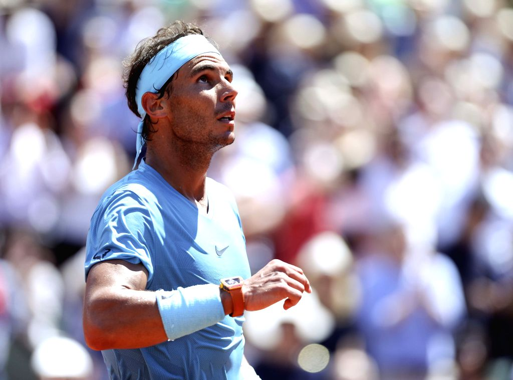 PARIS, June 7, 2018 - Rafael Nadal of Spain reacts after winning the men's singles quarterfinal match against Diego Schwartzman of Argentina at the French Open Tennis Tournament 2018 in Paris, France ...
