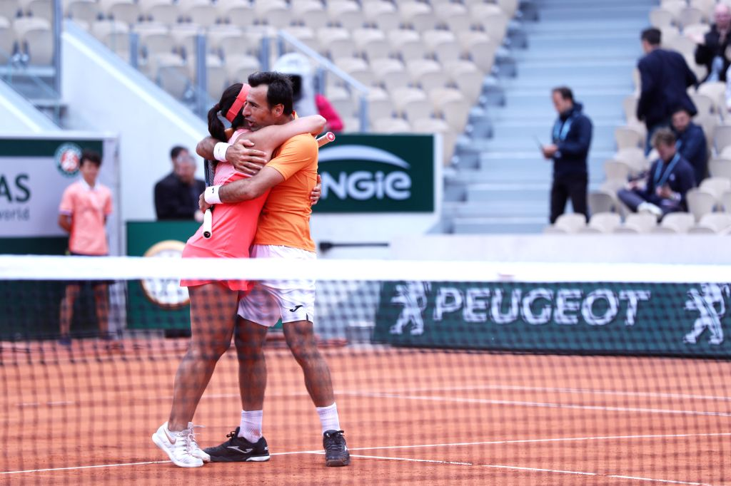 PARIS, June 7, 2019 - Latisha Chan(L) of Chinese Taipei and Ivan Dodig of Croatia celebrate after the mixed doubles final match against Gabriela Dabrowski of Canada and Mate Pavic of Croatia at ...