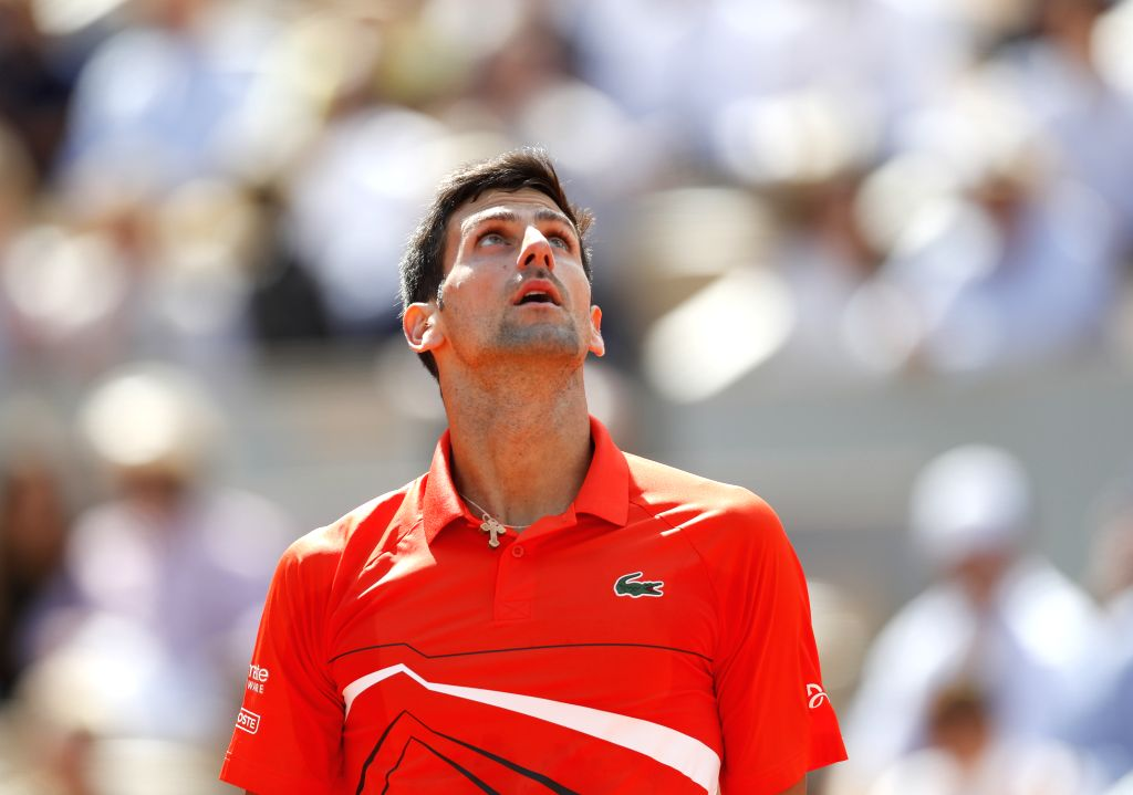 PARIS, June 7, 2019 - Novak Djokovic of Serbia reacts during the men's singles quarterfinal match against Alexander Zverev of Germany at French Open tennis tournament 2019 at Roland Garros, in Paris, ...